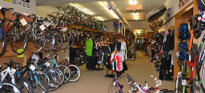 bikes on display in store