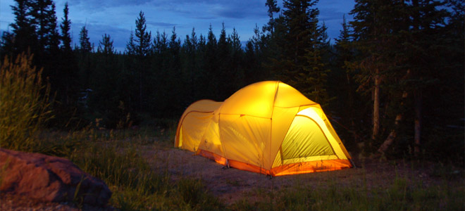 tent glowing in the dark forest