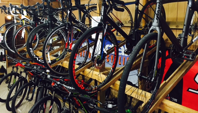 Bikes on racks in shop