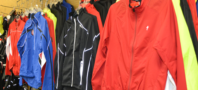 assortment of cycling clothing on display in store