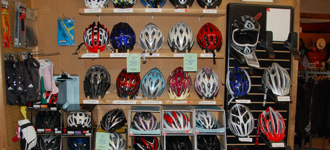 Bike helmets on display in store