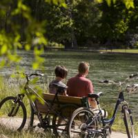 Biking by lake