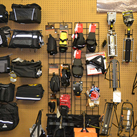 cycling racks and bags at pathfinder